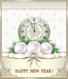 Feliz Año Nuevo de la postal con las bolas y el reloj ilustración del vector