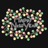 Feliz Año Nuevo de la tarjeta de felicitación con colorido con las luces en un fondo negro Foto de archivo