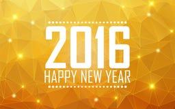 Feliz Año Nuevo 2016 de la tarjeta de felicitación Fondo poligonal, estrellas, Foto de archivo libre de regalías