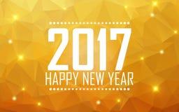 Feliz Año Nuevo 2017 de la tarjeta de felicitación Fondo poligonal, estrellas, día de fiesta, brillo Imagenes de archivo