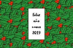 Feliz Año Nuevo de la tarjeta del nuevo 2019 del año de Feliz en español con las hojas del acebo como fondo libre illustration