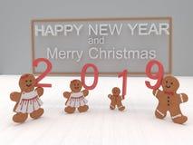 Feliz Año Nuevo 2019 de la tarjeta del día de fiesta con las galletas en un backgro blanco imagen de archivo libre de regalías