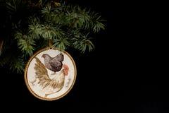 Feliz Año Nuevo 2017 de la tarjeta del gallo con decoupage hecho a mano del arte Imagenes de archivo