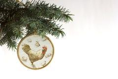 Feliz Año Nuevo 2017 de la tarjeta del gallo con decoupage hecho a mano del arte Fotos de archivo libres de regalías