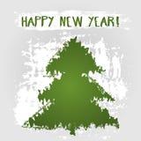 ¡Feliz Año Nuevo de la tarjeta del Grunge! Silueta abstracta del árbol, deseo del texto Fotos de archivo