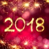 Feliz Año Nuevo 2018 de la tarjeta de felicitación Foto de archivo