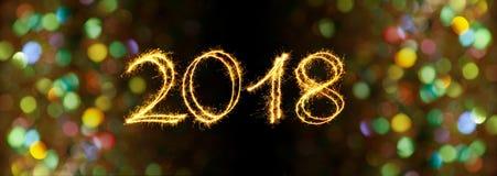 Feliz Año Nuevo 2018 de la tarjeta de felicitación Foto de archivo libre de regalías