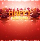 Feliz Año Nuevo de la tarjeta de Greetin de la naturaleza con los árboles de navidad stock de ilustración