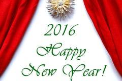 Feliz Año Nuevo 2016 de las cortinas del teatro del fondo blanco rojo de la etapa Imagenes de archivo