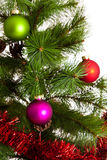 Feliz Año Nuevo de las decoraciones del árbol de navidad Foto de archivo