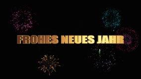 Feliz Año Nuevo de las letras de oro en alemán contra fuegos artificiales festivos brillantes