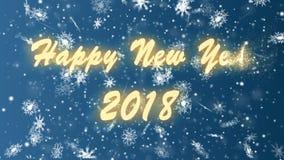 Feliz Año Nuevo 2018 de los copos de nieve en un fondo azul Animación de colocación inconsútil de la Navidad y del Año Nuevo ilustración del vector