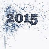 Feliz Año Nuevo 2015 de los fuegos artificiales y de las estrellas Foto de archivo