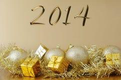 Feliz Año Nuevo 2014 - decoración de la Navidad Imagen de archivo