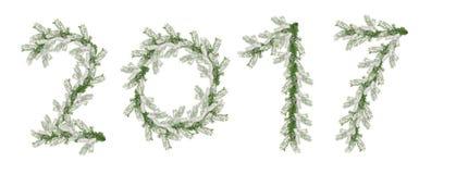 Feliz Año Nuevo 2017 del árbol de navidad nevado de las ramas Foto de archivo libre de regalías