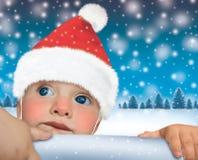 Feliz Año Nuevo del bebé de Papá Noel Fotografía de archivo