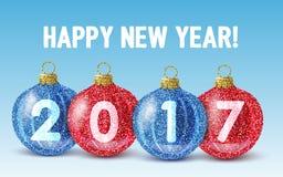 Feliz Año Nuevo 2017 del brillo de las bolas coloridas de la Navidad Foto de archivo libre de regalías