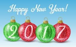 Feliz Año Nuevo 2017 del brillo de las bolas coloridas de la Navidad Fotografía de archivo libre de regalías