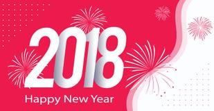 Feliz Año Nuevo 2018 del color rosado Stock de ilustración