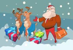 Feliz Año Nuevo del día de fiesta de la Navidad de la caja del presente de Santa Claus Business Man With Reindeer Fotos de archivo libres de regalías