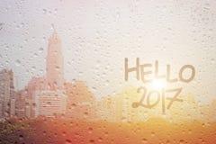Feliz Año Nuevo del drenaje en el espejo Imagenes de archivo