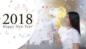 Feliz Año Nuevo del grito 2018 asiáticos de la mujer de negocios Fotografía de archivo libre de regalías