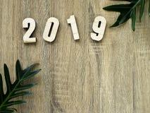 Feliz Año Nuevo 2019 del número del símbolo del suspiro imágenes de archivo libres de regalías