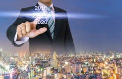 Feliz Año Nuevo del negocio 2019 de la tecnología de la pantalla táctil Imagen de archivo