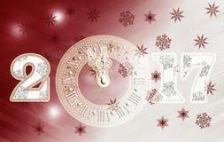 Feliz Año Nuevo del reloj 2017 Fotografía de archivo