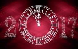 Feliz Año Nuevo del reloj 2017 retros púrpuras Fotografía de archivo libre de regalías