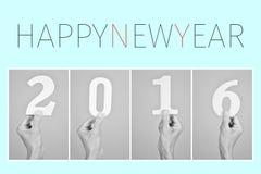 Feliz Año Nuevo 2016 del texto Fotografía de archivo libre de regalías