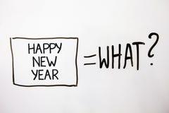 Feliz Año Nuevo del texto de la escritura Navidad de la enhorabuena del significado del concepto feliz todo el mundo principios d Fotografía de archivo