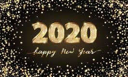 Feliz Año Nuevo del texto 2020 de lujo de oro del vector Diseño festivo de los números del oro Confeti del brillo del oro Dígitos