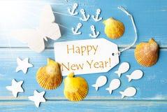 Feliz Año Nuevo del texto de Sunny Summer Greeting Card With Fotos de archivo