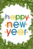 Feliz Año Nuevo del texto del saludo sobre blanco en un marco spruce Imagenes de archivo