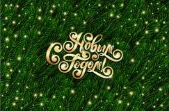Feliz Año Nuevo del texto ruso Letras cirílicas Ramas de árbol realistas de la picea 3d Marco festivo de las ramas del abeto del  foto de archivo