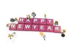 Feliz Año Nuevo del trabajador de la palabra miniatura de la formación de equipo Fotografía de archivo libre de regalías