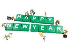 Feliz Año Nuevo del trabajador de la palabra miniatura de la formación de equipo Fotografía de archivo