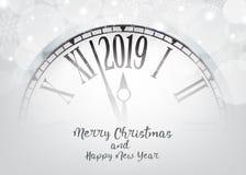 Feliz Año Nuevo del vector 2019 con el reloj retro en blanco de los copos de nieve stock de ilustración
