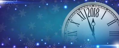 Feliz Año Nuevo del vector 2018 con el reloj retro en los copos de nieve azules b Fotos de archivo libres de regalías