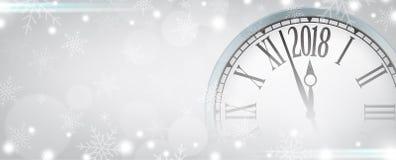 Feliz Año Nuevo del vector 2018 con el reloj retro en los copos de nieve grises Fotografía de archivo libre de regalías