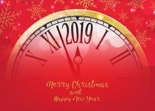 Feliz Año Nuevo del vector 2019 con el reloj retro en vagos rojos de los copos de nieve ilustración del vector