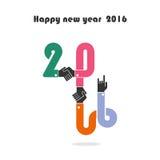 Feliz Año Nuevo 2016 Diseño colorido de la tarjeta de felicitación Illustr del vector Fotos de archivo