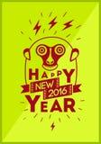 ¡Feliz Año Nuevo 2016! Diseño de la tarjeta de felicitación de la Navidad con el mono divertido Ilustración del vector ilustración del vector