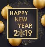 Feliz Año Nuevo Diseño de los números del oro de tarjeta de felicitación Modelo brillante del oro Bandera de la Feliz Año Nuevo c ilustración del vector