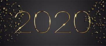 Feliz Año Nuevo diseño de tarjeta de 2020 vacaciones de invierno ilustración del vector