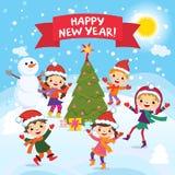 Feliz Año Nuevo 2017 Diversión del invierno Niños alegres que juegan en la nieve Ejemplo común del vector de un grupo de niños fe Imagenes de archivo