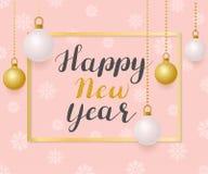 Feliz Año Nuevo Ejemplo con las bolas de oro