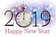 Feliz Año Nuevo 2019 Ejemplo del texto y reloj de bolsillo del vintage foto de archivo libre de regalías