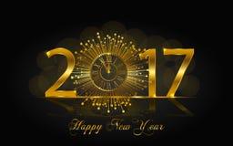 Feliz Año Nuevo 2017 Ejemplo del vector con el reloj del oro Foto de archivo libre de regalías